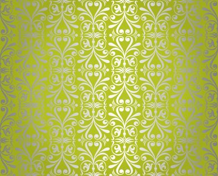 pale ocher: Green    silver  vintage wallpaper design Illustration