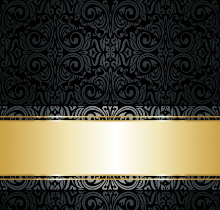 black  and gold vintage wallpaper  Vector