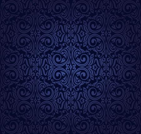 暗い藍色ビンテージ壁紙  イラスト・ベクター素材