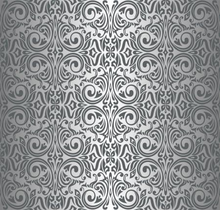 銀高級ビンテージ壁紙