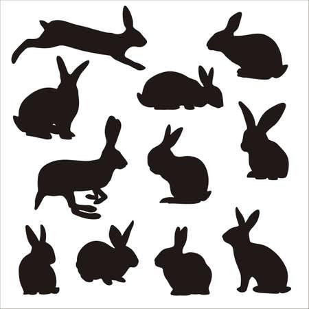 lapin: Lapin de P�ques silhouettes Illustration
