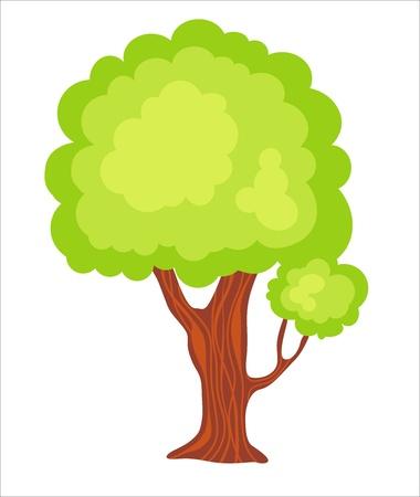 kinder garden: Green spring garden tree  Illustration