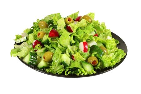 fresh green lettuce spring salad  isolated Stock Photo