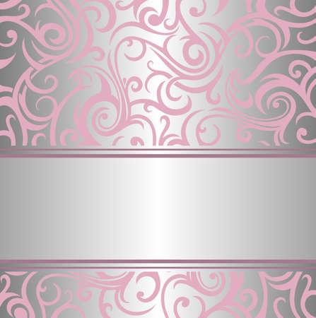pembe gümüş davetiye vintage design