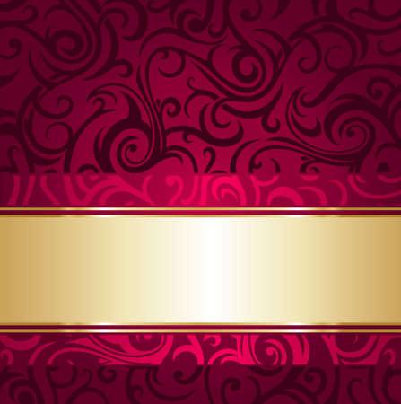 kırmızı ve altın lüks antika duvar kağıdı Illustration