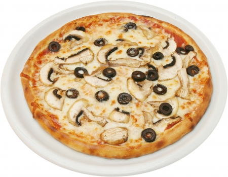 bap: Pizza Fungi  with tomatoes cheese  and mushrooms  isolated Stock Photo