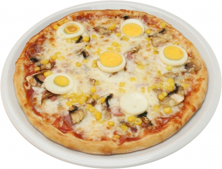 Pizza Lucky with cheese tomatoes mushrooms egg corn and ham isolated photo