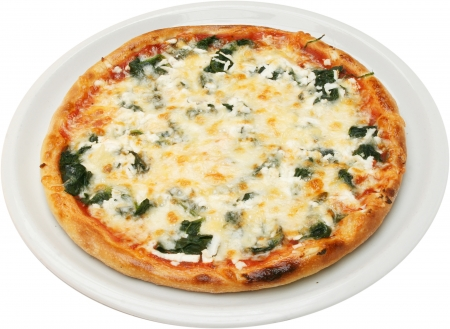 Pizza Popeye the sailor with cheese, feta, tomatoes, spinach and dill isolated