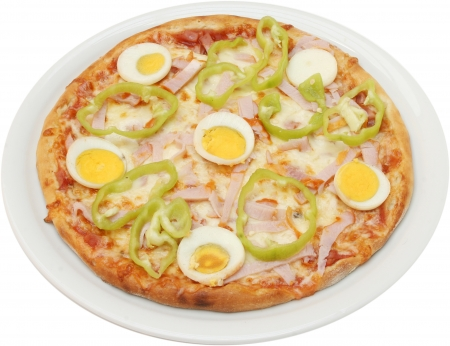 Pizza Toscana with cheese, bacon, egg and ham isolated photo