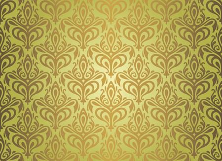 pale ocher: Green   brown vintage wallpaper design