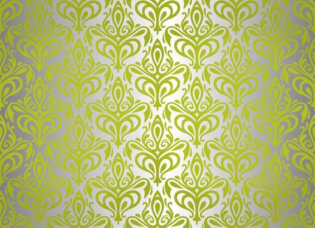 ashy: green   silver vintage wallpaper design  Illustration