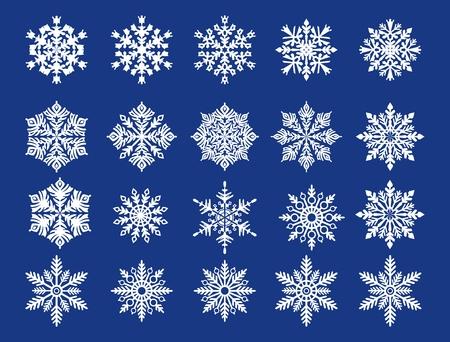 decode: White snowflakes on blue background