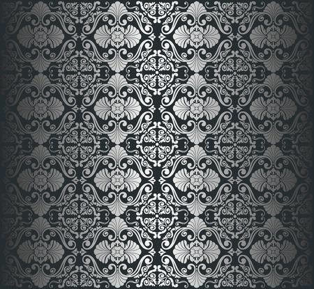 黒銀高級ビンテージ壁紙の背景  イラスト・ベクター素材