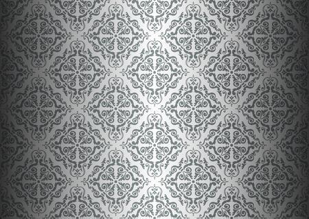 Zilveren luxe vintage behang
