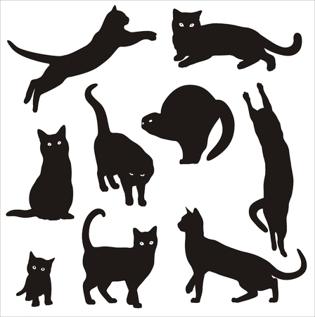black and white Silhouettes of cats Vector