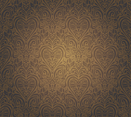 ocher: dark brown vintage seamless wallpaper design