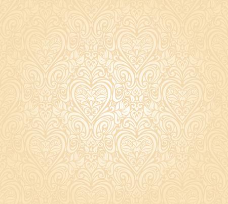 pale ocher: gentle peach seamless wedding floral  background Illustration