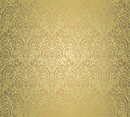 green    brown vintage seamless floral background design Vector