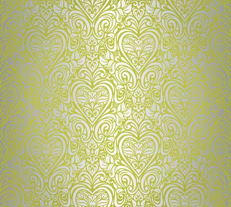 green    silver vintage seamless floral background design Illustration