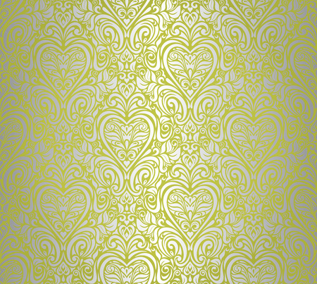 green    silver vintage seamless floral background design Çizim