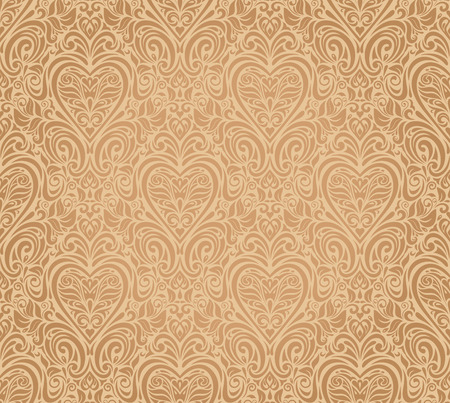 pale ocher: ocher vintage seamless floral background design Illustration