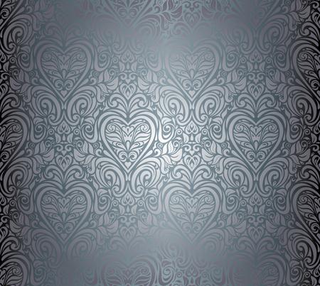 Gümüş lüks bağbozumu dikişsiz floral background tasarımı Illustration