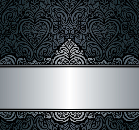 black   silver vintage invitation background design Vector