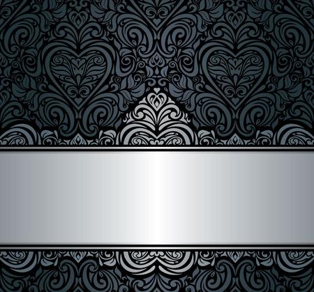 Siyah gümüş eski davetiye arka plan tasarımı Illustration