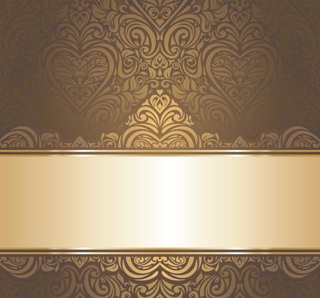 茶色ゴールドのビンテージ壁紙のデザイン  イラスト・ベクター素材
