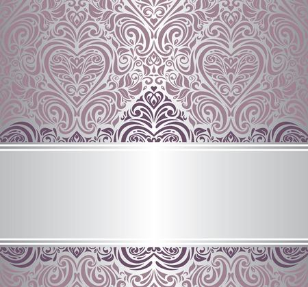 pink   silver vintage invitation design