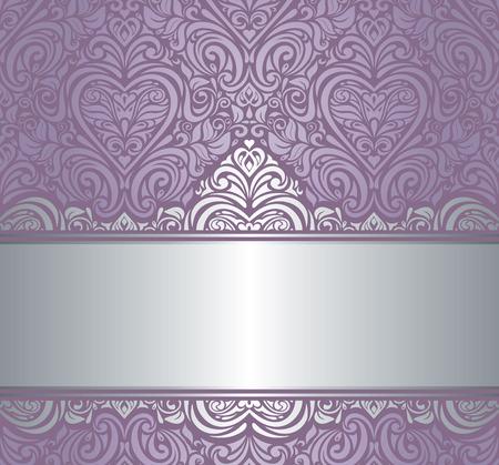 バイオレット シルバー高級ビンテージ招待背景デザイン  イラスト・ベクター素材