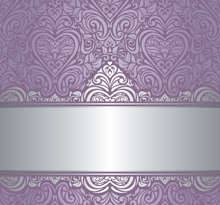 Silver   violet luxury vintage invitation background design