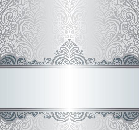 bodas de plata: Diseño de fondo de la invitación de plata de lujo de época Vectores