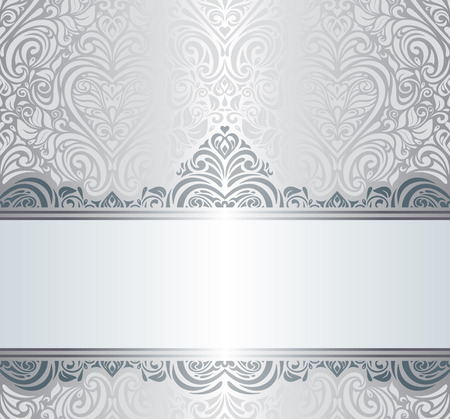 Silver luxury vintage invitation background design Çizim