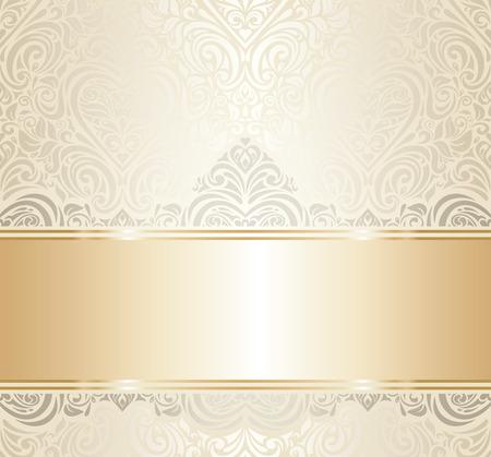 white   gold vintage invitation luxury background design Vector