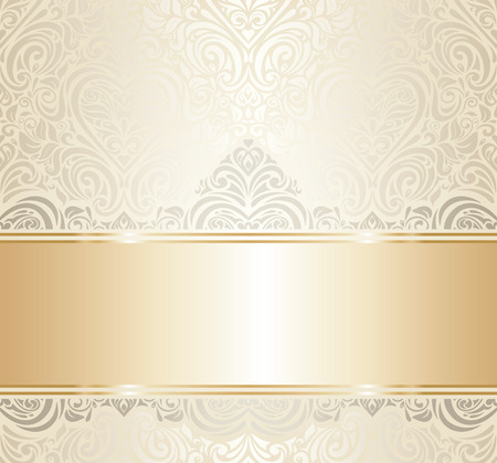 white greeting: white   gold vintage invitation luxury background design Illustration