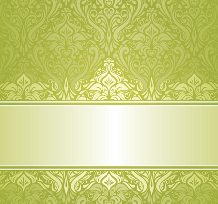 Green   white pale ornamental vintage invitation design Vector