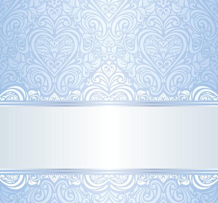 blue vintage invitation floral wallpaper background  Illustration