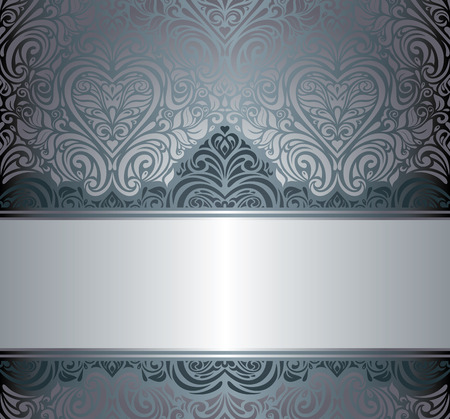 Silver luxury vintage invitation floral background design