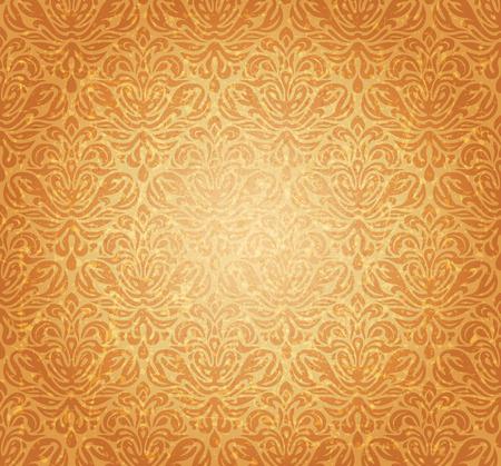 Retro hardal sarısı eski dikişsiz rönesans arka plan tasarımı