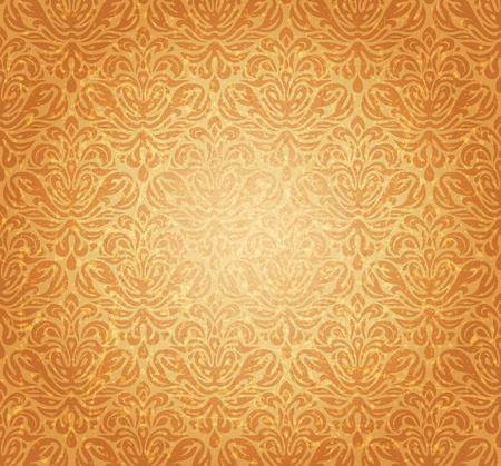 ocher: Retro ocher vintage seamless renaissance background design Illustration