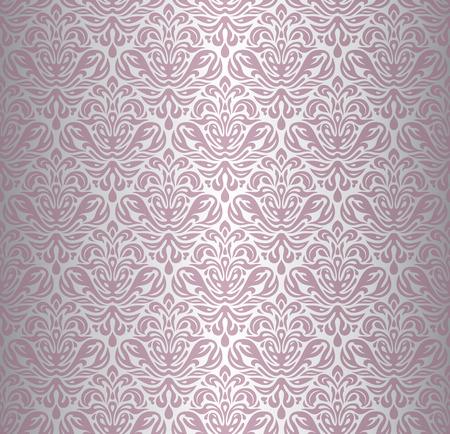 Pink Silver Renaissance Pattern Vintage Wallpaper