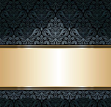 Siyah ve altın lüks duvar kağıdı arka plan Illustration