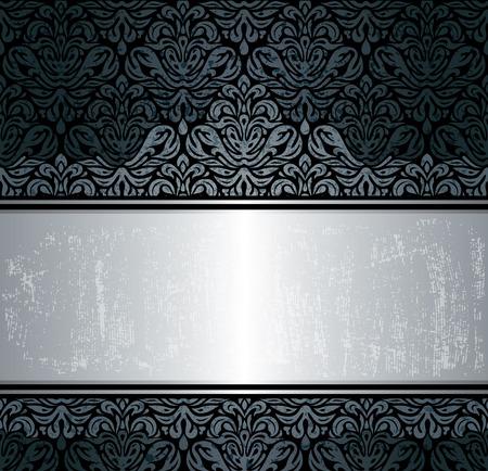 Black & silver luxe vintage behang achtergrond Stock Illustratie