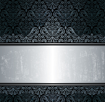 Black & silver luxury vintage wallpaper background