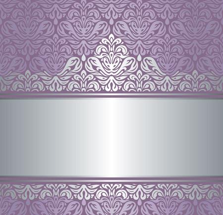 silver silk: Shiny violet & silver renaissance pattern  vintage invitaton background Illustration