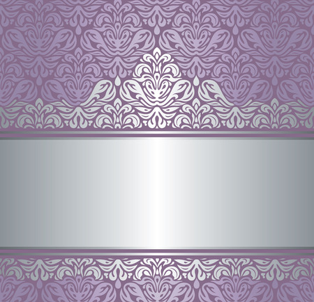 Shiny violet & silver renaissance pattern  vintage invitaton background Çizim