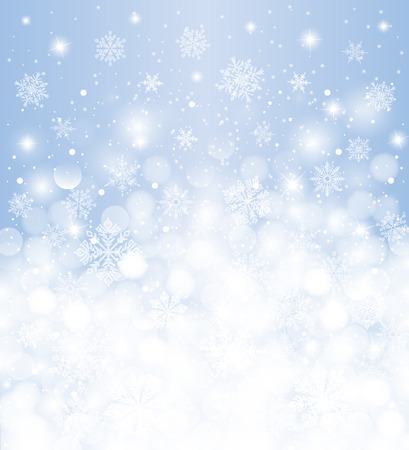 Winter background  blurred, white & blue, with snowfall and copy space, for christmas card