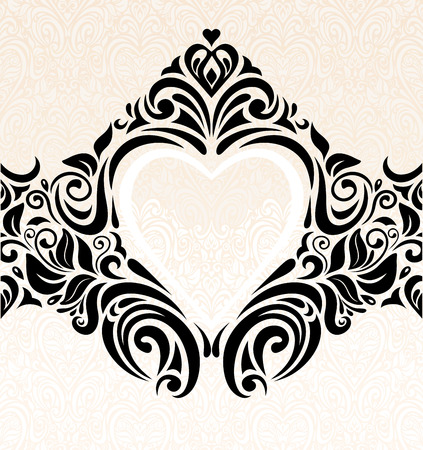 ecru: Vintage wedding ecru & black fashionable invitation wallpaper background Illustration