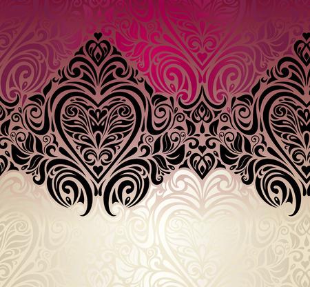 ecru: Fashionable red, ecru and black decorative vintage invitation background design